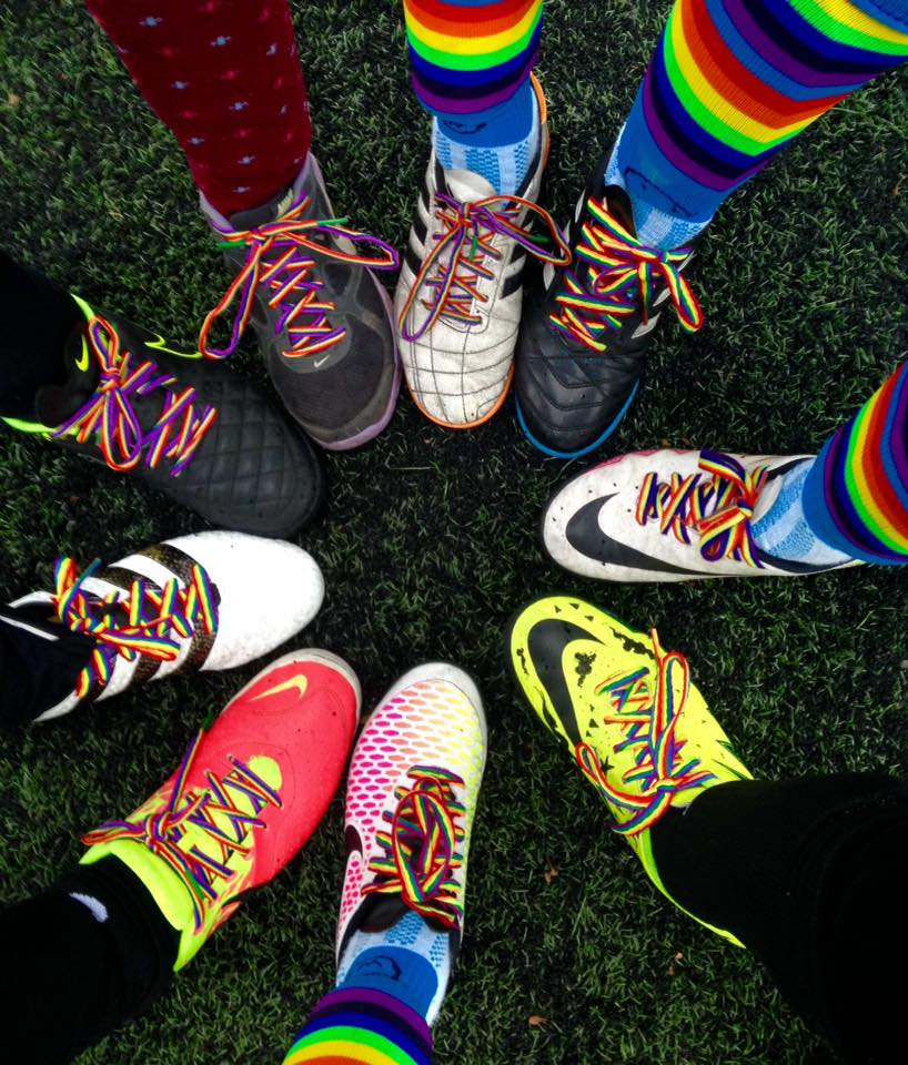 Football boots with rainbow lases